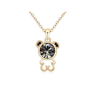 Famale Black Lovely Bear Pendant Austrian crystal Crystal Necklaces