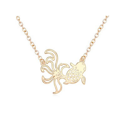 Buckle Gold Color Exquisite Goldfish Pendant Alloy Plated Real Gold Crystal Necklaces