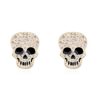Christmas White Inlaid Diamond Skull Head Design Austrian crystal Crystal Earrings