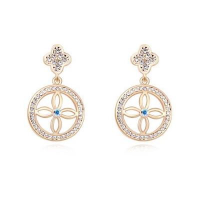 Invitation White&Champagne Gold Four-Leaf Clover Decorated Austrian crystal Crystal Earrings