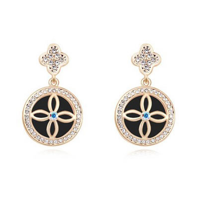 Mexican Black&Champagne Gold Four-Leaf Clover Decorated Austrian crystal Crystal Earrings