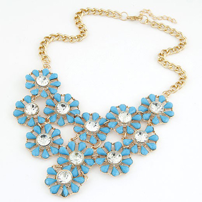 Lightning Blue Hollow Out Multilayer Sunflower Design Alloy Bib Necklaces