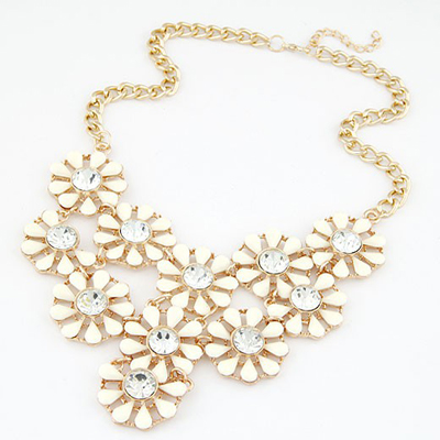 Oversized Beige Hollow Out Multilayer Sunflower Design Alloy Bib Necklaces