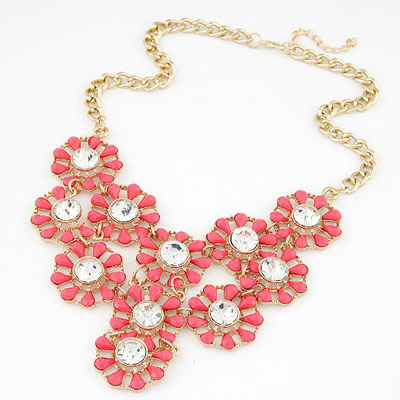 Rave Red Hollow Out Multilayer Sunflower Design Alloy Bib Necklaces