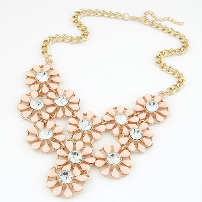 Glueless Pink Hollow Out Multilayer Sunflower Design Alloy Bib Necklaces