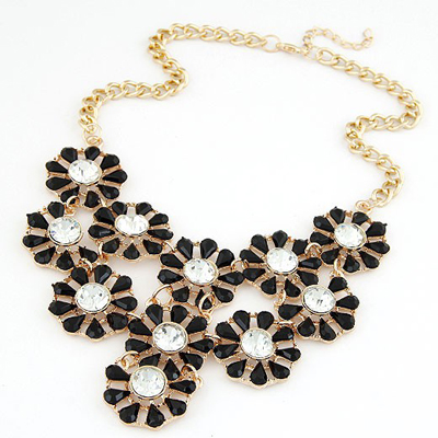 Correspond Black Hollow Out Multilayer Sunflower Design Alloy Bib Necklaces