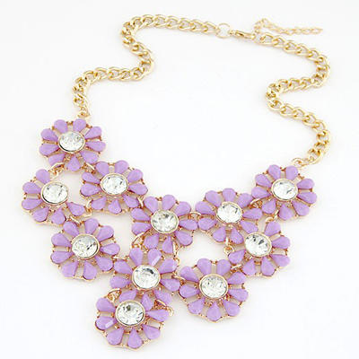 Maternity Purple Hollow Out Multilayer Sunflower Design Alloy Bib Necklaces