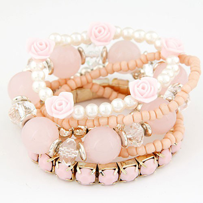 Indie Pink Flower Pearl Decorated Multilayer Elastic Design