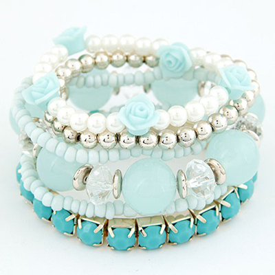 Christenin Light Blue Flower Pearl Decorated Multilayer Elastic Design Rosin Korean Fashion Bracelet