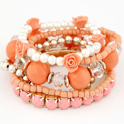 Healing Orange Flower Pearl Decorated Multilayer Elastic Design Rosin Korean Fashion Bracelet