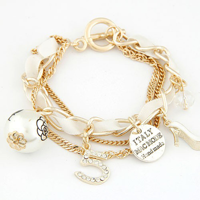 Flip White Multielement Decorated Multilayer Chain Design Alloy Korean Fashion Bracelet