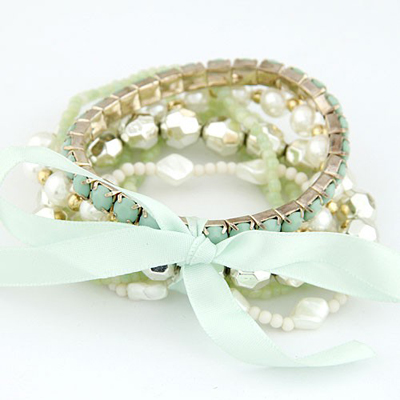 Shade Green Bohemia Style Big Bowknot Decorated Alloy Korean Fashion Bracelet