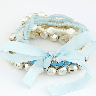 Stainless Light Blue Bohemia Style Big Bowknot Decorated Alloy Korean Fashion Bracelet