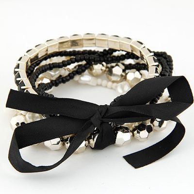 Travel Black Bohemia Style Big Bowknot Decorated Alloy Korean Fashion Bracelet