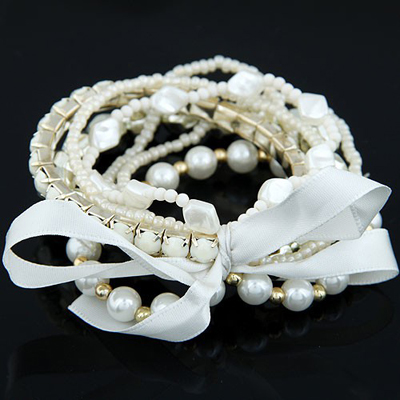 Hip Hop White Bohemia Style Big Bowknot Decorated Alloy Korean Fashion Bracelet