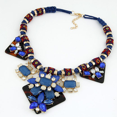 Equestrian Sapphire Geometric Shape Gemstone Decorated Alloy Bib Necklaces