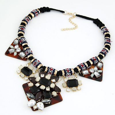 Catholic Black Geometric Shape Gemstone Decorated Alloy Bib Necklaces