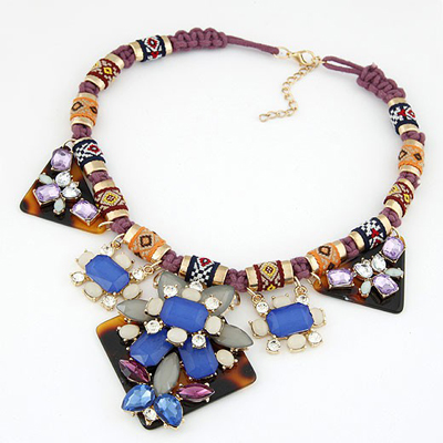 Roller Multicolor Geometric Shape Gemstone Decorated Alloy Bib Necklaces