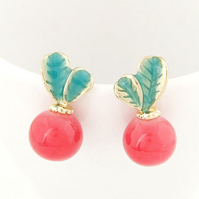 Best Red Candy Color Leaves Temperament Design Alloy Stud Earrings