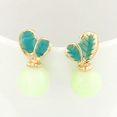 Claddagh Green Candy Color Leaves Temperament Design Alloy Stud Earrings