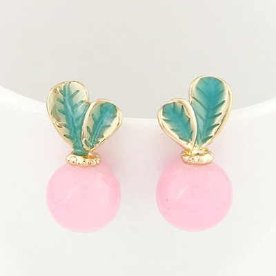 Fine Pink Candy Color Leaves Temperament Design Alloy Stud Earrings