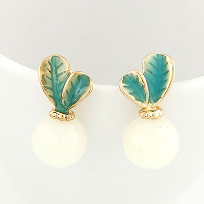 Plus Size Beige Candy Color Leaves Temperament Design Alloy Stud Earrings