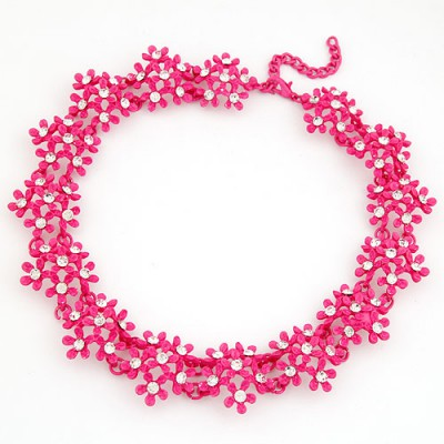 24K Plum Red Irregular Two Row Flower Fake Collar Design Alloy Bib Necklaces