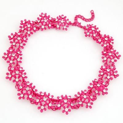 24K Plum Red Irregular Two Row Flower Fake Collar Design Alloy Bib Necklaces