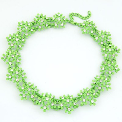 Classic Green Irregular Two Row Flower Fake Collar Design Alloy Bib Necklaces