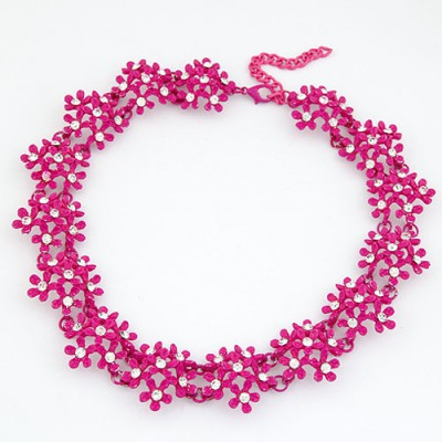 Tanzanite Dark Plum Red Irregular Two Row Flower Fake Collar Design Alloy Bib Necklaces