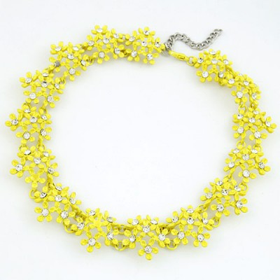 Active Yellow Irregular Two Row Flower Fake Collar Design Alloy Bib Necklaces