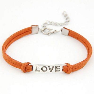 Chunky Dark Yellow Metal Word Love Decorated Alloy Korean Fashion Bracelet