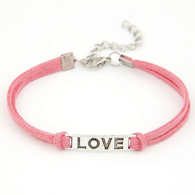 Masonic Watermelon Red Metal Word Love Decorated Alloy Korean Fashion Bracelet