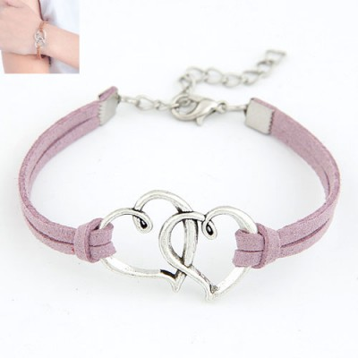 Promo Dark Purple Double Metal Heart Decorated Alloy Korean Fashion Bracelet