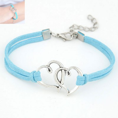 Micro Blue Double Metal Heart Decorated
