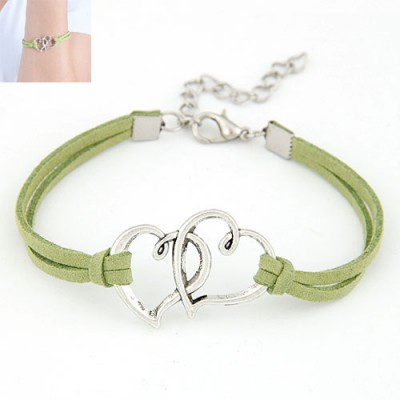 Slacks Green Double Metal Heart Decorated Alloy Korean Fashion Bracelet