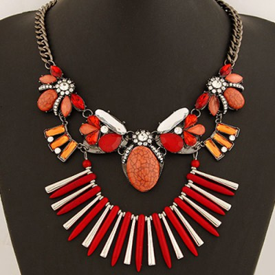 Bodybuildi Red Bohemia Style Gemstone Decorated Exaggerated Design Alloy Bib Necklaces