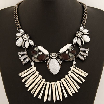 Petite Beige Bohemia Style Gemstone Decorated Exaggerated Design Alloy Bib Necklaces