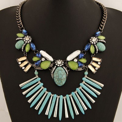 Micro Blue Bohemia Style Gemstone Decorated Exaggerated Design Alloy Bib Necklaces