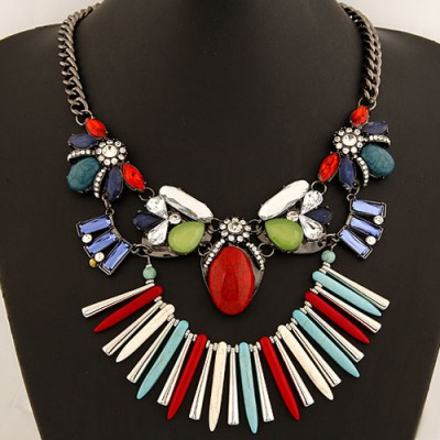 Polaris Multicolor Bohemia Style Gemstone Decorated Exaggerated Design Alloy Bib Necklaces