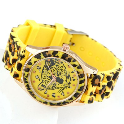 Fantasy Yellow Leopard Head Pattern Decorated Alloy Ladies Watches