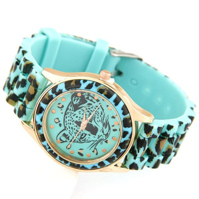 Handcrafte Blue Leopard Head Pattern Decorated Alloy Ladies Watches