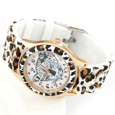 Shade White Leopard Head Pattern Decorated Alloy Ladies Watches