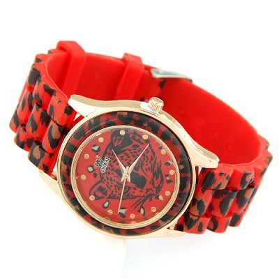 Tie Red Leopard Head Pattern Decorated Alloy Ladies Watches