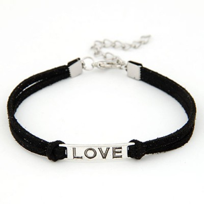 Airmail Black Metal Word Love Decorated Alloy Korean Fashion Bracelet