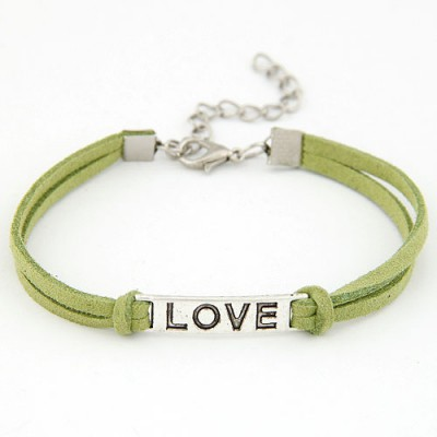 Unique Green Metal Word Love Decorated Alloy Korean Fashion Bracelet