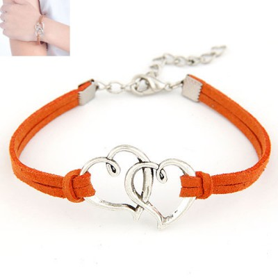 Latest Orange Double Metal Heart Decorated Alloy Korean Fashion Bracelet