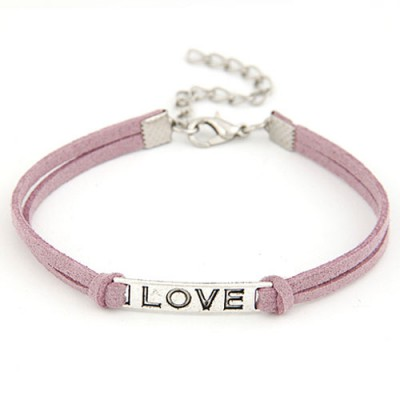 Moving Dark Purple Metal Word Love Decorated Alloy Korean Fashion Bracelet
