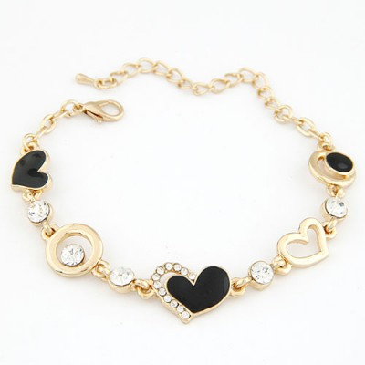 Roll Gold Color Metal Heart Shape And Hollow Out Circle Decorated Alloy Korean Fashion Bracelet