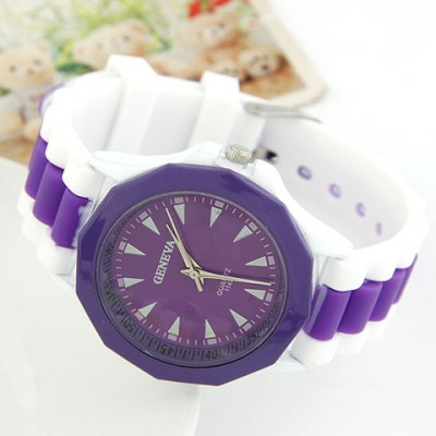 High Purple Candy Color Geometric Shape Casual Design Alloy Ladies Watches